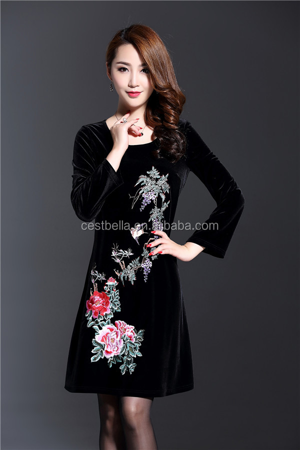 New Autumn Winter Fashion Plus Size 5XL Luxury Black Full Sleeve Slim Embroidered Dress