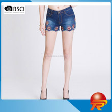 2017 China wholesale fashion embroidered denim shorts new national design women's jeans wear