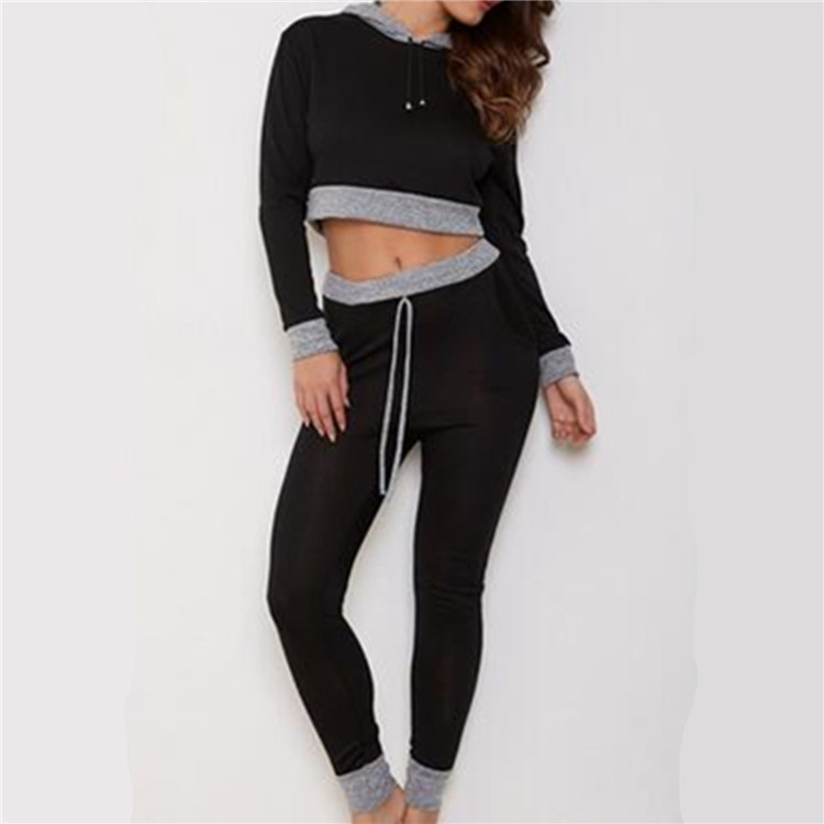2018 Autumn Winter Casual Sport Crop Top Hoodie Long Trousers Two Piece Womens Pants Set Manufacturers In China
