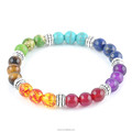 Hot-sales fashionable Natural stone amthyst Agate tiger stone beaded bracelet seven-chakra yoga energy stone bracelet