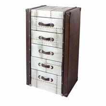 Antiqued Leather 5 Drawer Vintage Belts Storage Chest of Drawers