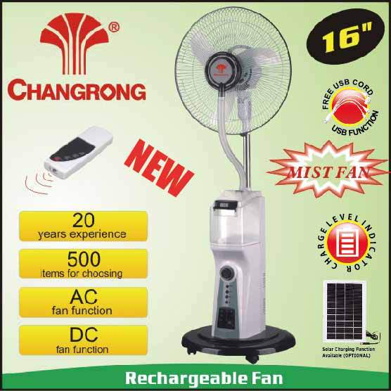 16 inch Emergency water bottle spray solar stand fan with led and battery operated