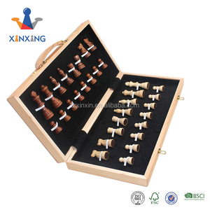 personalized factory custom solid wood folding large wooden chess games set with Handle & big pieces