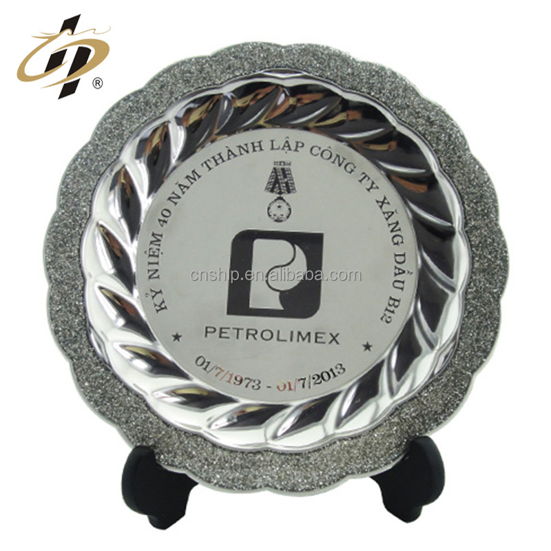 Manufacturer in China custom blank company logo metal arts silver engraved dubai souvenir plate