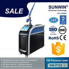 Unique Real Pico! Honeycomb Lens Tattoo Removal Pico Laser machine For Wrinkles Acne Scars Treatment