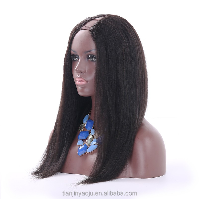 150 Density Glueless U Part Kinky Straight Wig For Black Women Long U Part Wigs Brazilian Virgin Hair None Lace Natural Hair Wig