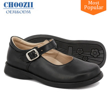 Size 25-37 Black Leather Formal Kids Leather Shoes Mary Jane Flat Girls School Shoes Children