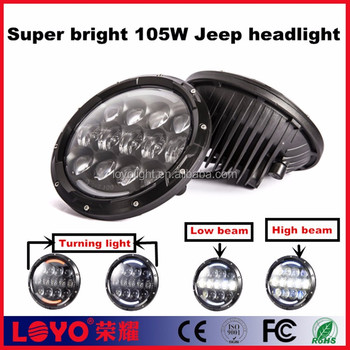 Top sell 105w high/low beam led headlight 7 inch round led headlight 12v 24v