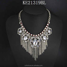 Korea amethyst necklace supplier in yiwu,silver plated diy bar necklace for women A4061