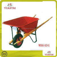 Construction plant wheelbarrow Wood handles Red metal tray WH6404