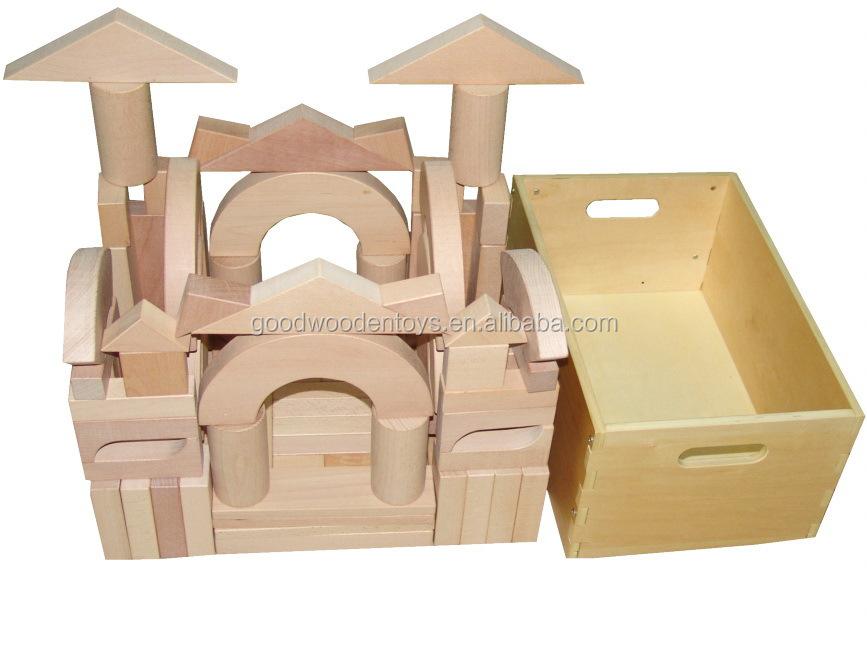 Preschool toy pcs beechwood architectural unit blocks