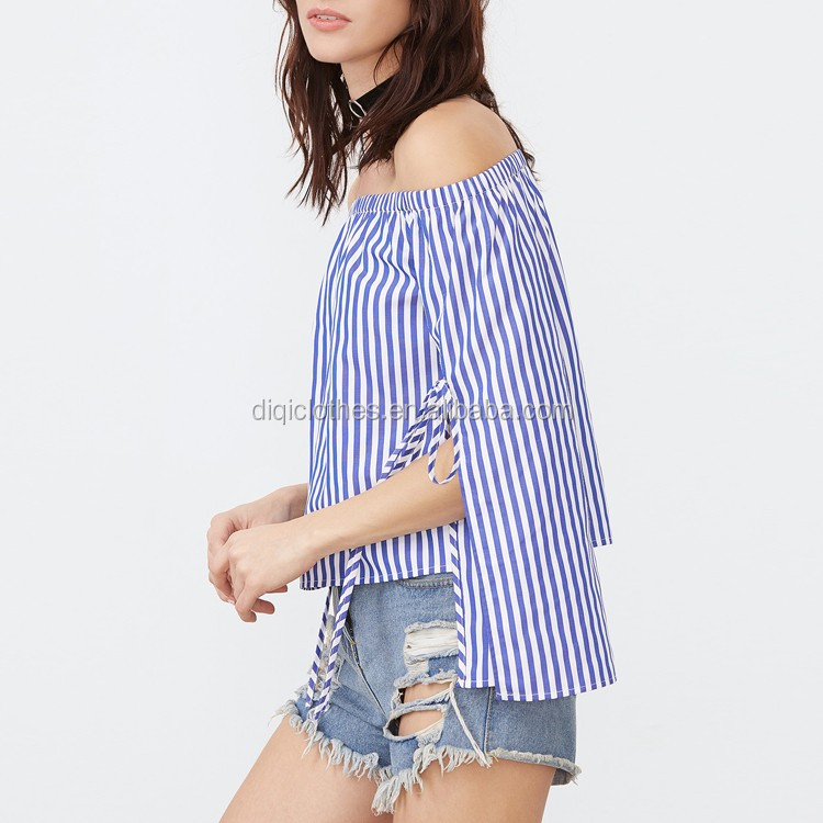 New arrival china clothing factory wholesale cheap lady fashion Blue And White Striped Tied Split Sleeve Off The Shoulder Tops