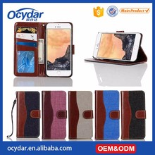 High quanlity blocking pattern double color Leather Case for iphone 7