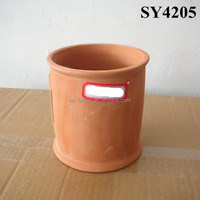 Hotsale flower pot 2015 cylindrical mini terracotta plant pot wholesale