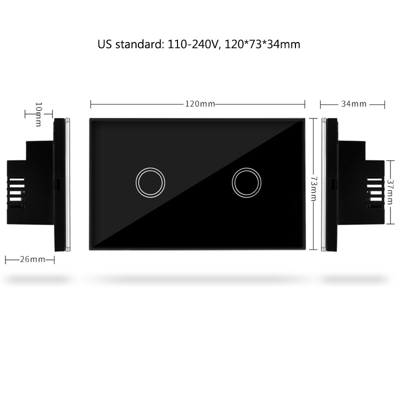 US Standard 2 Gang 1 Way Remote Control Switch Wireless smart remote control touch switch US/AU, Smart Home Automation Module