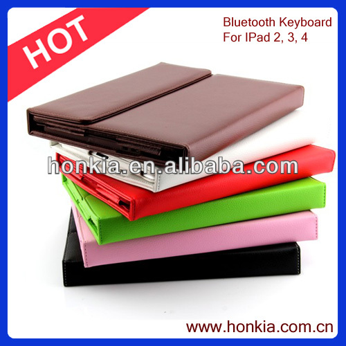 Cheap Bluetooth Keyboard For iPad 2, 3, 4 / Tablet PC with colorful Leather Case