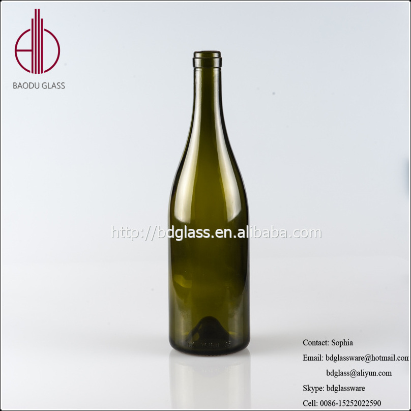 New design bottle of red wine dark green glass wine bottle 750ml with high quality