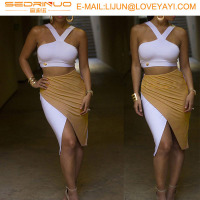 New Sexy Fashion Summer Women Two Piece Bodycon Bandage Dress Celebrity Club Party Mini Dress