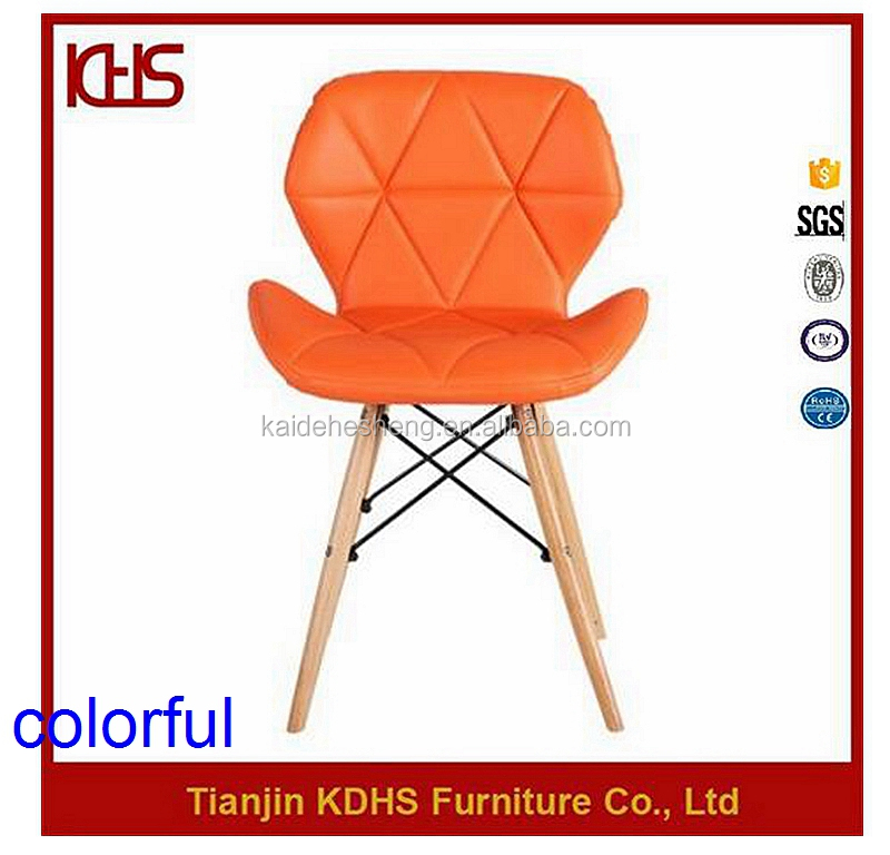 simple good quality eiffel shape orange leather dining chairs for sale