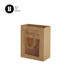 Promotional brown color kraft recycled paper gift bag with window