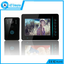 "color Camera and 110-220 Power wireless video door phone Calling Door Intercom System with 7"" monitor"