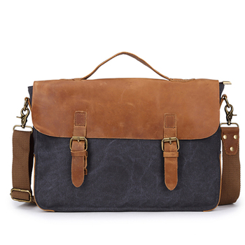 Wholesale vintage men canvas messenger bag , canvas shoulder bag for business travel and school teenagers