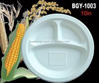 10 inch 3 compartments cornstarch biodegradable tableware round plate