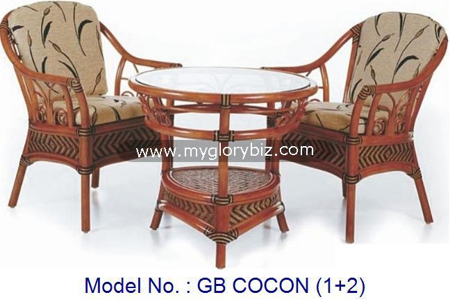 Rattan Armchair With Round Table, Living Room Furniture For Home Antique Design, Antique 1+2 Natural Rattan Armchair Set