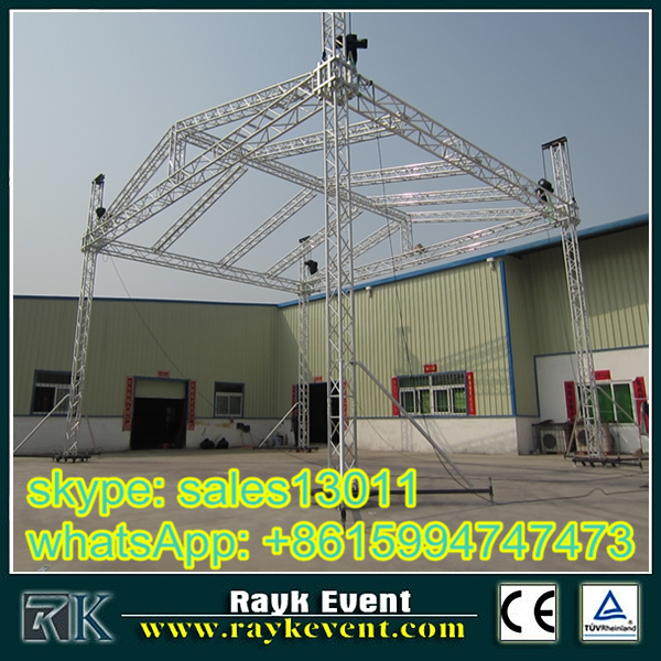 300x300 aluminum corcent stage lighting truss with pa wings with high quality