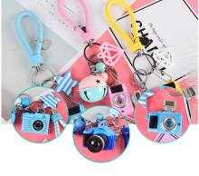 Creative cute light plastic led camera charms keychain leather car keychain men & women bag pendant