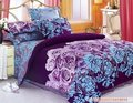 purple blue flowers design queen bed quilt comforter duvet cover sets 4pc