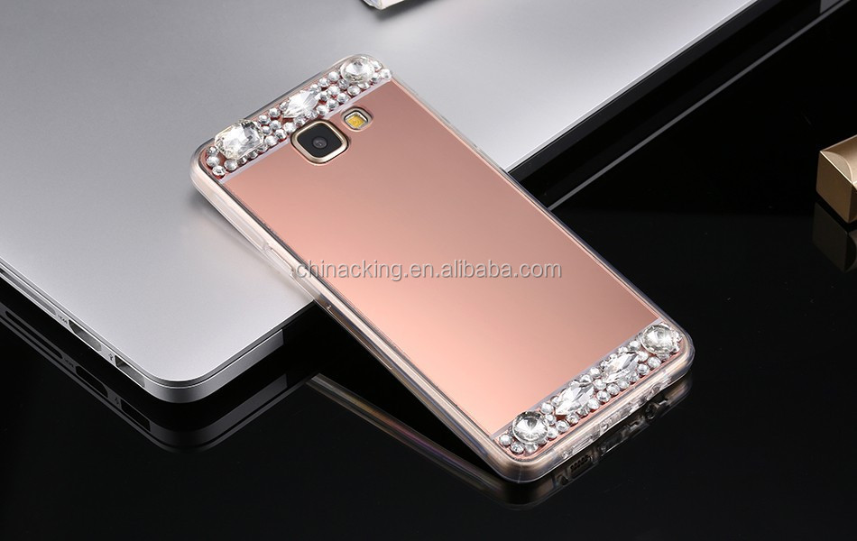 For Samsung Galaxy J3 J5 J7 2016 S7 Edge S6 A3 A5 A7 Grand Prime Mirror Case Cover Soft TPU Bling Rhinestone Diamond Phone Cases