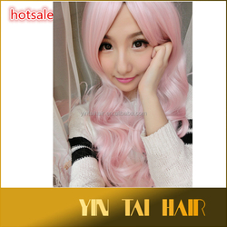 2015 Hot sale cheap synthetic pink Cosplay colored long curly wig for women