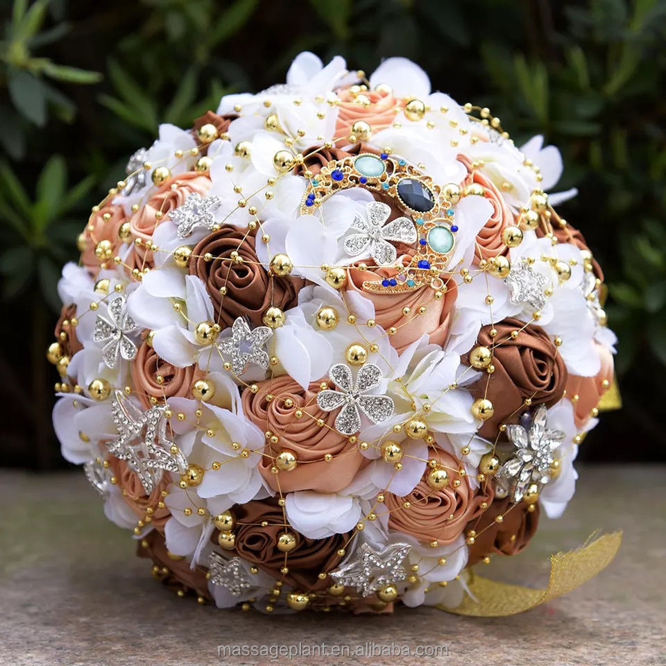 Brooch wedding clay Rose gold Keepsake bridal Toss bouquet Roses bouquet clay <strong>flowers</strong>