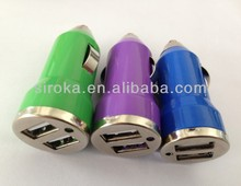 CE ROHS Standard 2 Port Mini Car Charger With 10 Colors