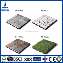 Easy-to-install interlocking rough stone surface floor tile