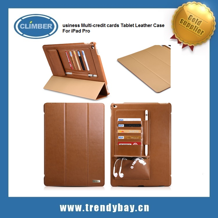 Business Multi-credit cards Tablet Leather Case For iPad Pro case