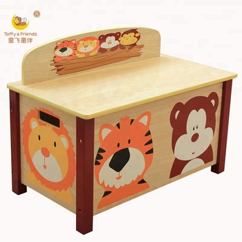 Wooden kids animal toy storage box with lid