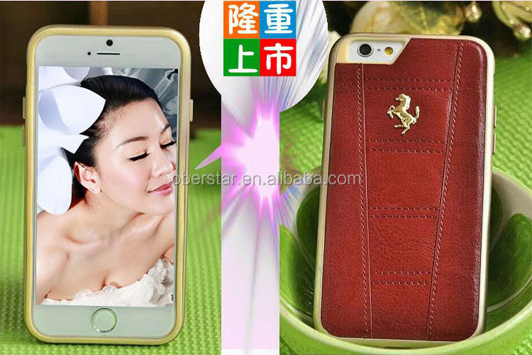 original leather flip phone case for iphone 6 plus/ leather mobile phone protector cover case