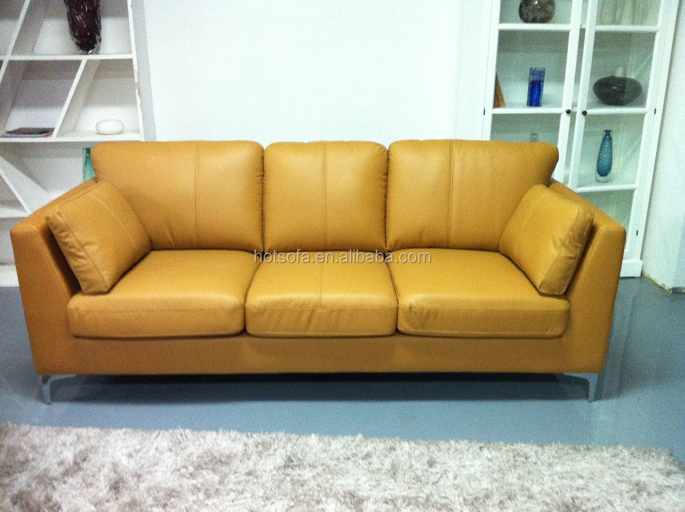 Modern Furniture Wood Frame Sofa Prices Living Room Yellow Leather Sofa Buy Yellow Leather