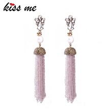 American Trendy Women Wholesale Pearl Fashion Beads Tassel Earring Jewelry