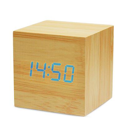 2017 led click table wooden alarm clock for office bedroom school