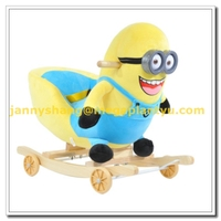 Animal shape plush wooden wheel kids music rocking chairs