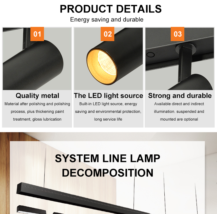 Modern Energy Saving Design Indoor Black Metal  Aluminum 7W LED Track Light