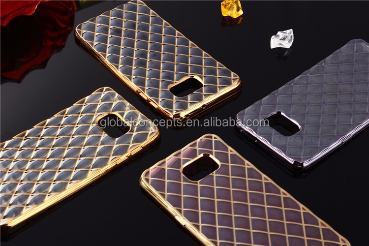 Luxury Electroplate Diamond Lattice Soft TPU Case for Samsung Galaxy J1/J3/J5/J7/A5/A7/Note4/S5/S4/i9082