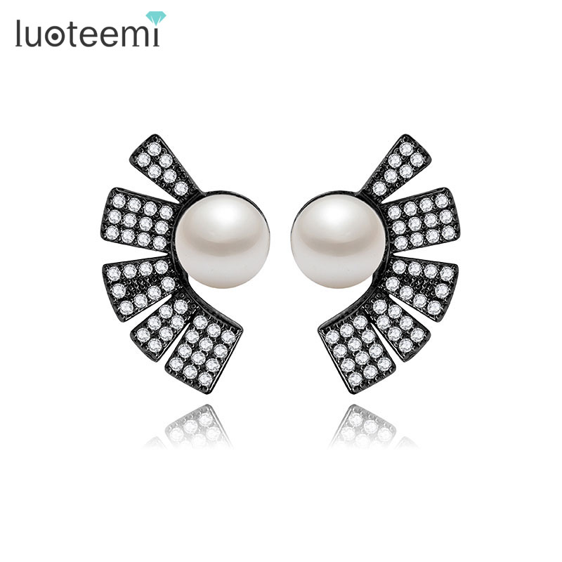 LUOTEEMI Wholesale Fashion Jewelry Brincos Trendy Brand Stylish Cubic Zirconia With Pearl Diamond Ear Stud Women Earrings