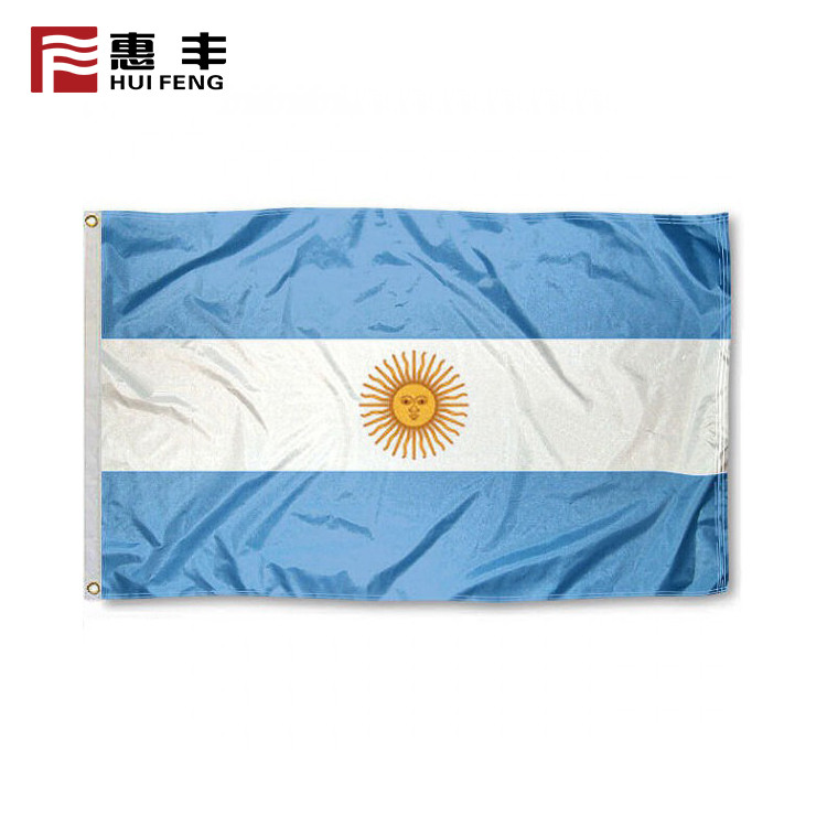 Factory Price 100D Polyester 90X150cm Argentina  National Flag
