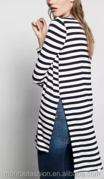 monroo New Fashion Women Elegant Black and White Striped Long T-Shirt Women Casual O Neck Split T-shirt Pullover Tops