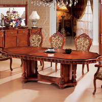 hot sale european solid wood antique french style oval dining table chair large round wood dining tables M622-829