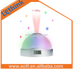 Beautiful color changing alarm projector table projection clock